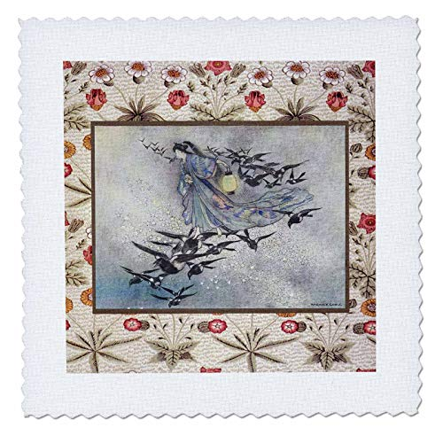 3dRose Made in the Highlands - Japanese woman and birds - Print of a Japanese woman and birds - 25x25 inch quilt square (qs_309576_10) from 3dRose