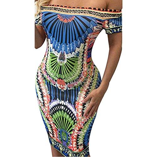 Culater® Femmes Imprimé Bandage épaule Off Cocktail Maxi Robe Longue