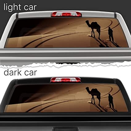 74481274552a44 Desert Camel Perforated Film Car Accessories Truck Window Wrap Car Truck  Decal Car Idea Suv Decal