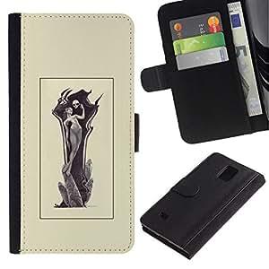 All Phone Most Case / Oferta Especial Cáscara Funda de cuero Monedero Cubierta de proteccion Caso / Wallet Case for Samsung Galaxy Note 4 IV // Grim Reamper Woman