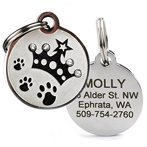 d Cat & Dog ID Tags. Stainless Steel Pet ID Tag, Custom Engraved with 4 Lines of Text – Unique, Stylish, & Fun - Bone, Crown, Smiley Cat, Starry Moon Cat, Robo Dog, & Bat Dog (Crown Pet Collar)