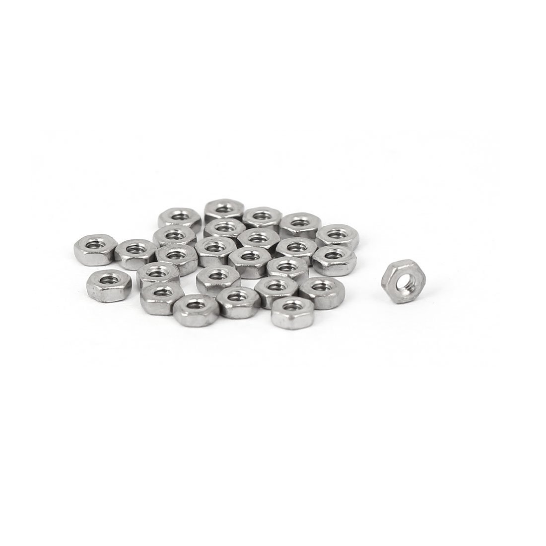 uxcell M1.6 Metric 304 Stainless Steel Hexagon Hex Nut Silver Tone 25pcs a18082200ux0386