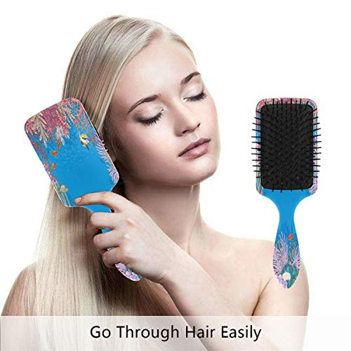 Hair Brush Natural Boar Bristle Hairbrush Underwater Corals Fishes Air Cushion Plastic Comb for Women Girls Men to Reduce Hair Breakage Anti Static by domook