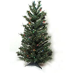 Vickerman 11265251 Pre-Lit Canadian Pine Artificial Christmas Tree with Multicolored Lights, 3'