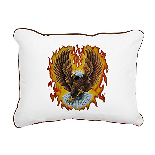 - Rectangular Canvas Throw Pillow Brown Eagle with Flames