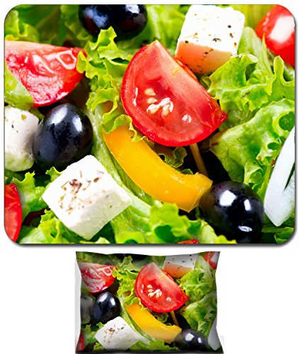- Liili Mouse Wrist Rest and Small Mousepad Set, 2pc Wrist Support ID: 26390598 Greek Salad closeup with Feta Cheese Tomatoes and Olives
