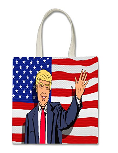 American Flag Caricature Cartoon President Caricature Halloween Trick Or Treat Polyester White Tote Bag 15x16x 3.5 for $<!--$9.95-->