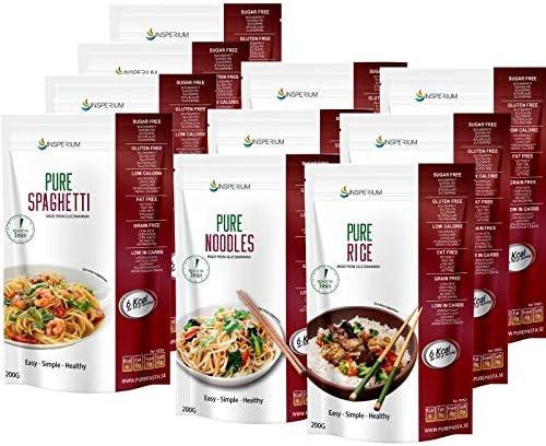 PurePasta Konjac Sin Gluten Tallarines - Arroz - Espaguetis 10 Pack * 200 g   Shirataki Con Harina Gluten Free Con La Pasta Y Arroz Contra ...