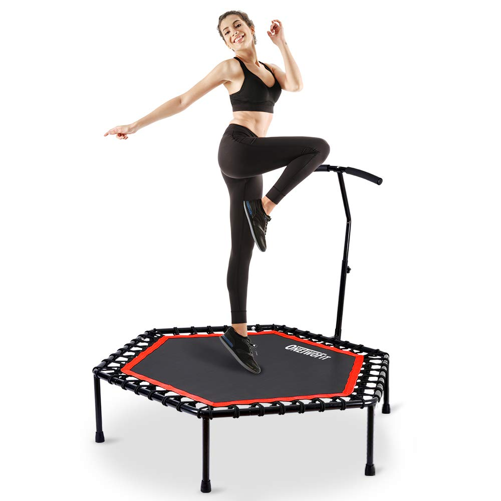 OneTwoFit 48'' Silent Mini Trampoline with Adjustable Handle Bar Fitness Trampoline Bungee Rebounder Jumping Cardio Trainer Workout for Adults or Kids OT088