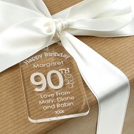 Personalised 90th Birthday Acrylic Gift Tag For Her