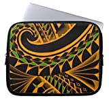 Swirling Tribal Polynesian Tatoos in Bright Colors Trendy Laptop Sleeve Computer Case 17
