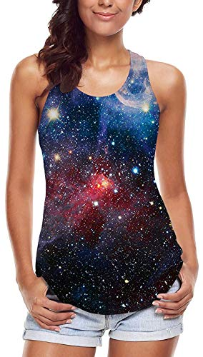 Leapparel 3D Galaxy Nebula Space Style Tank Tops for Women L