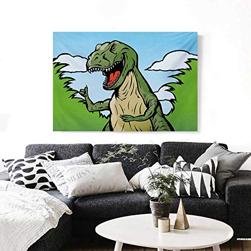 BlountDecor Dinosaur Art-Canvas Prints Cartoon T-Rex with Funny Face Giving Thumps Up Clouds Trees Sky Modern Wall Art for Living Room Decoration 32