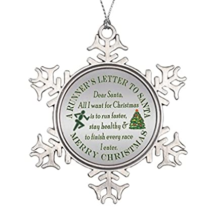lilithcroft99 funny runner running christmas letter to santa rnd snowflake pewter christmas ornamentchristmas tree - Christmas Letter Decorations