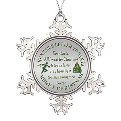 lilithcroft99 funny runner running christmas letter to santa rnd snowflake pewter christmas ornamentchristmas tree - Christmas Letter Decorations