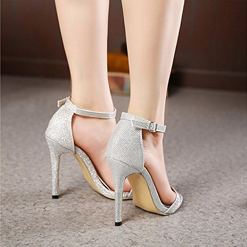 LEI&LI Zapatos de mujer tacon tacones / Peep Toe / plataforma sandalias / zapatos de tacón de fiesta & noche vestido , silver , 40