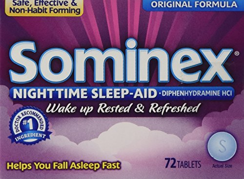Sominex Original Formula Tablets - Sominex Night-Time Sleep Aid Tablets, Original Formula, 72-Count Boxes (Pack of 3)