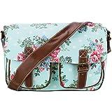 Miss Lulu Canvas Prints Satchel Messenger Shoulder Bag (Flower Blue)