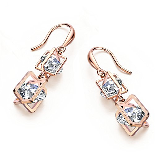 Swarovski Coral Peach Crystal Earrings - SBLING 18K Rose Gold Plated Cubic Zirconia Drop Earrings(9.5 cttw) -Gifts for Women/Girls