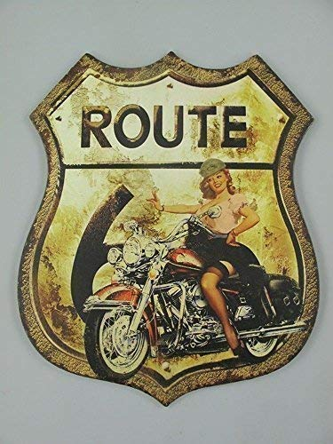 Nostalgia Letrero de Metal, Ruta 66 Pin Up Girl , Moto ...