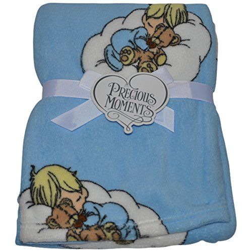 Precious Moments Baby Blanket Soft and Comfy Fleece 30 inches x 40 inches (Light Blue)