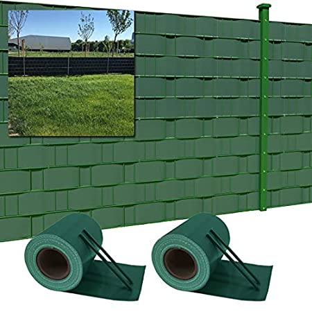 LARS360 35m x 19cm con 20 Strisce Fascette Visione Protezione PVC Paravista Frangivento Oscurante Protezione per Giardini e steccati Recinzione Colore Verde
