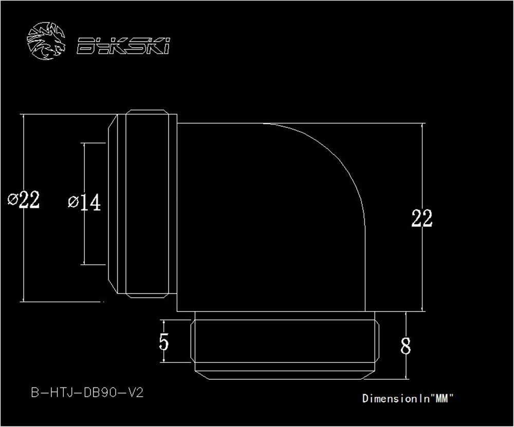 Bykski Elbow 14mm Rigid Tube Female Fitting Connector Joint B-HTJ-DB90-V2 White