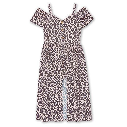 Pink Animal Print Dress - Speechless Girls' Big 7-16 Off The Shoulder Walk Through Romper Dress, Pink Animal Print, 10