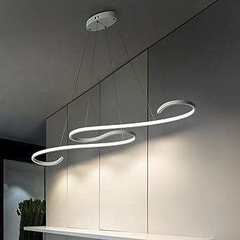 60W LED Pendelleuchte Esstisch Modern Design Lampe Innen Beleuchtung  Hängeleuchte Dimmbar Mit Den Fernbedienung Höhenverstellbar Aus