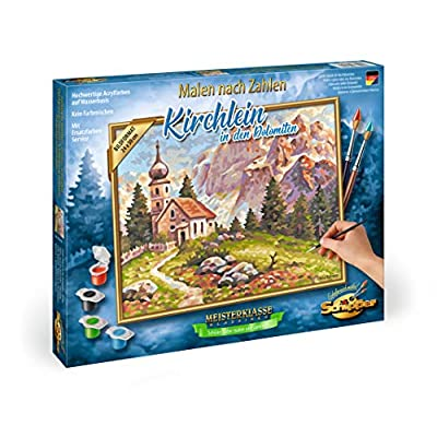 Schipper Little Church in The Dolomites Paint-by-Number Kit: Toys & Games