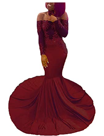bce8a099d4 Sexy Off The Shoulder Prom Dresses Mermaid Long Sleeve Lace Beaded Evening  Formal Gowns with Choker
