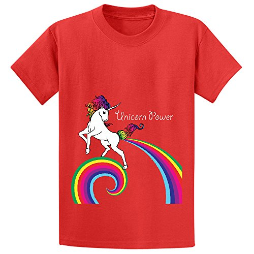 Mcol Unicorn Power With Rainbow Boys' Crew Neck Graphic Tee Red