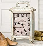 Carriage Clock Rustic in Distressed Tin, Stands 11 Inches Tall, Battery Review