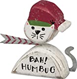 PBK Christmas Decor - Prim Chunky Wood Cat Bah! Humbug Sitter #32525