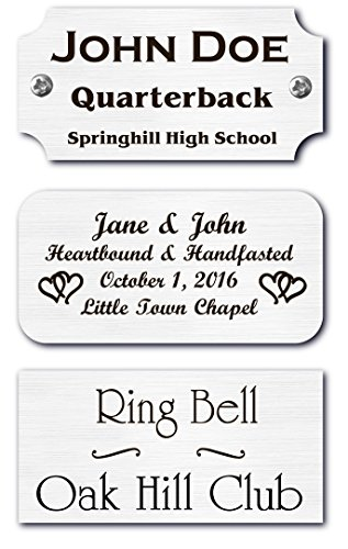 1' H x 2' W, Silver Finish Solid Copper Nameplate Personalized Custom Laser Engraved Label Art Tag for Frames Notched Square or Round Corners Made in USA