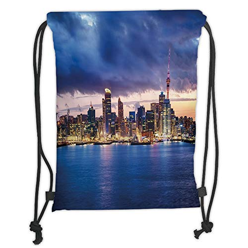 New Fashion Gym Drawstring Backpacks Bags,City,Auckland The Biggest City in New Zealand Waterfront Travel Destination,Navy Blue Pale Yellow Soft Satin,Adjustable String Closure,Th ()
