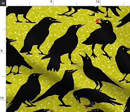 Spoonflower Ravens Fabric - Raven Crow Black Bird Halloween Goth Sept2016Catsvsravens Halloween Scary Birds Black Bird by Mariafaithgarcia Printed on Fleece Fabric by The -