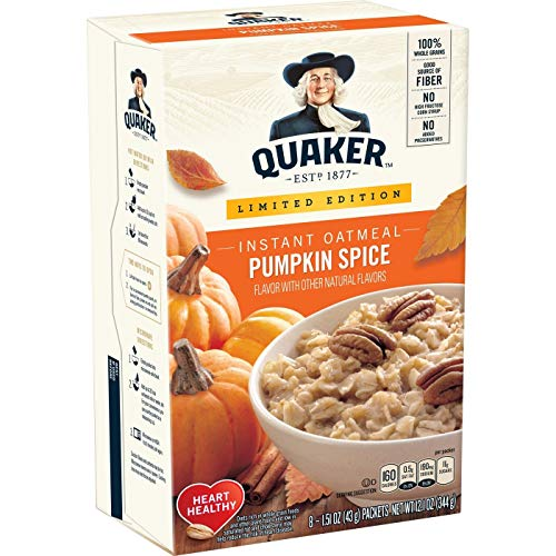 - Quaker instant oatmeal Pumpkin Spice Oatmeal 1.51oz x 8(total 12.1oz), pack of 1