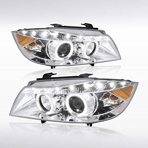 Autozensation For BMW E90 3-Series 4Dr Chrome LED Halo Projector Headlights Pair