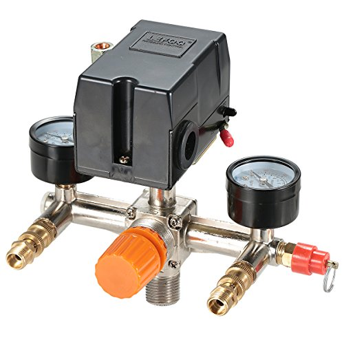 Secbolt Pressure Switch Manifold Regulator Gauges Air Compressor Pressure Switch Control Valve 90-120PSI (Horizontal Switch) ()