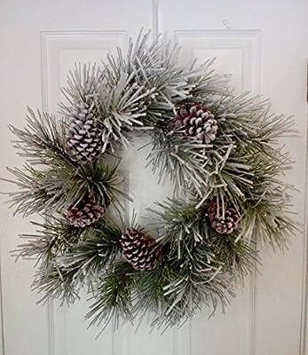 "Flocked Snowy Pine and Cone Christmas Wreath Winter Door Wreath 24"""
