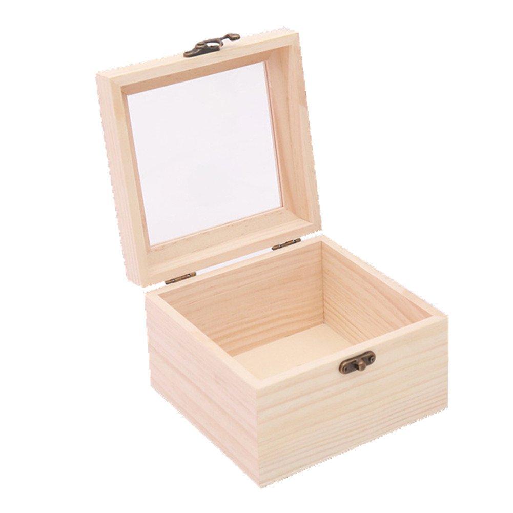 Daliuing Caja de Regalo de Madera Cubierta de Vidrio Caja de Embalaje de Cumpleaños Caja de Almacenamiento Joyero Caja de Embalaje