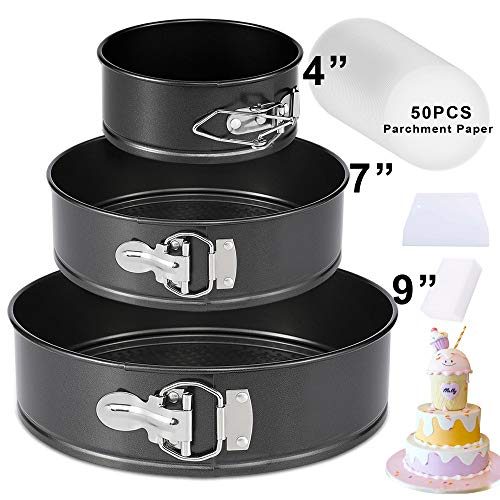Springform Pan Set,3 Piece 4' 7' 9' Nonstick Leakproof Round Cake Pan Set,Spring Form Cake Pan,Spring Pan,Wedding Cake Pan,Cheesecake Pan with Removable Bottom and 50 Pcs Parchment Paper