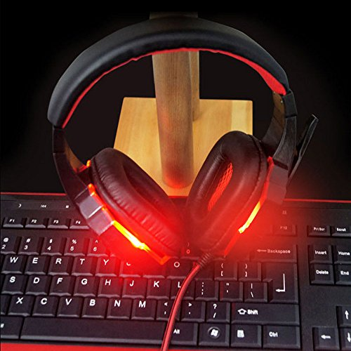 Anferstore Surround Stereo Gaming Headset Headband Headphone,USB 3.5mm Mic Noise Cancelling With LED Light,Suitable for Laptop, Mac, iPad, Computer etc (Red) by Anferstore (Image #3)