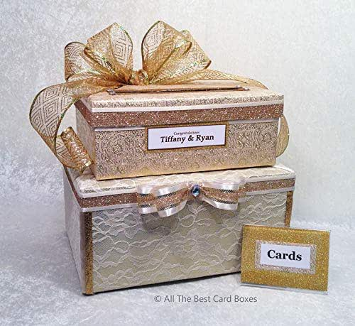 Amazon.com: Gold Wedding Card Box With Slot,two Tiers