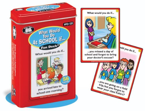 Super Duper Publications What Would You Do At School If... Fun Deck Flash Cards Educational Learning Resource for Children