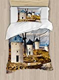 Ambesonne Windmill Decor Duvet Cover Set Twin Size, Medieval Spain Windmills in Consuegra Old Historical Landmark, Decorative 2 Piece Bedding Set with 1 Pillow Sham, Blue White Light Brown