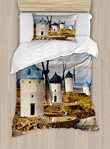 Ambesonne Windmill Decor Duvet Cover Set Twin Size, Medieval Spain Windmills in Consuegra Old Historical Landmark, Decorative 2 Piece Bedding Set with 1 Pillow Sham, Blue White Light Brown by Ambesonne