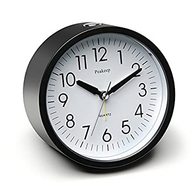 "Peakeep 4"" Round Silent Alarm Clock with Snooze and Nightlight, Gradually Louder Beep Sounds, AA Battery Operated"