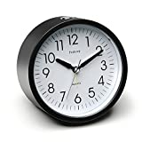 Peakeep 4 inch Round Silent Analog Alarm Clock Non Ticking, Gentle Wake, Beep Sounds, Increasing Volume, Battery Operated Snooze and Light Functions, Easy Set (Black)